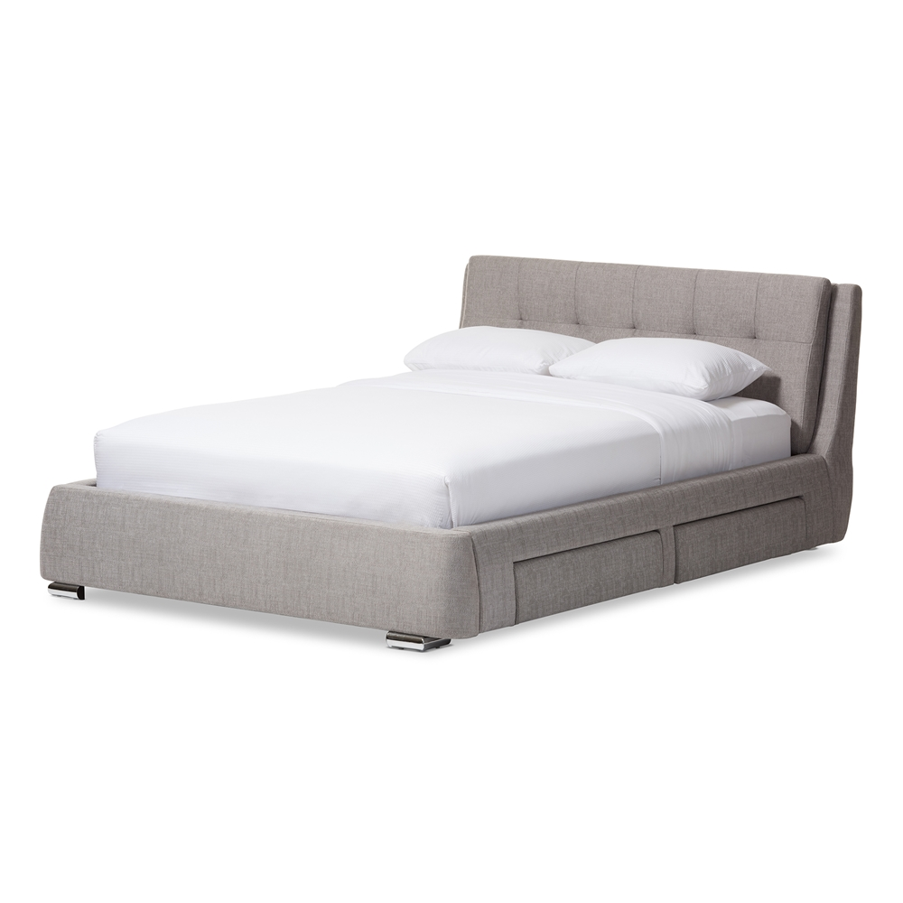 Baxton Studio Camile Modern and Contemporary Grey Fabric Upholstered 4-Drawer Queen Size Storage Platform Bed
