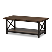 Baxton Studio Herzen Rustic Industrial Style Antique Black Textured Finished Metal Distressed Wood Occasional Cocktail Coffee Table