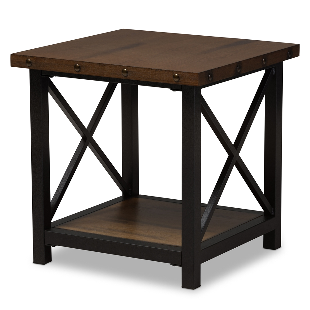 Baxton Studio Herzen Rustic Style Antique Black Textured Finished Metal Distressed Wood Occasional End Table