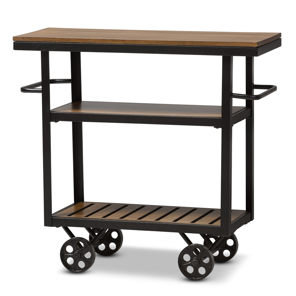 Baxton Studio Kennedy Rustic Style Antique Black Textured Finished Metal Distressed Wood Mobile Serving Cart