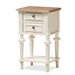 Baxton Studio Marquetterie French Provincial Style Weathered Oak and White Wash Distressed Finish Wood Two-Tone 2-Drawer and 1-Shelf Nightstand