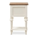 Baxton Studio Marquetterie French Provincial Style Weathered Oak and White Wash Distressed Finish Wood Two-Tone 2-Drawer and 1-Shelf Nightstand - PRL8VM(AR)/M B