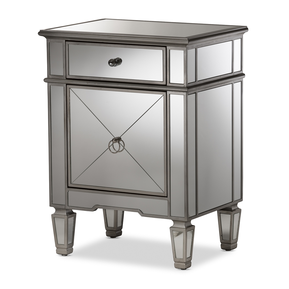 Baxton Studio Claudia Hollywood Regency Glamour Style Mirrored Nightstand
