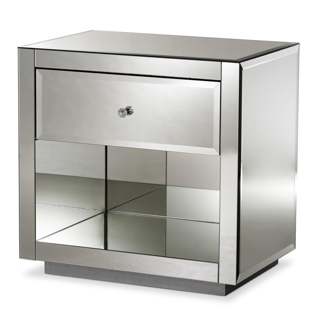Baxton Studio Melanie Hollywood Regency Glamour Style Mirrored 1-Drawer 1-Shelf Nightstand (Set of 2)