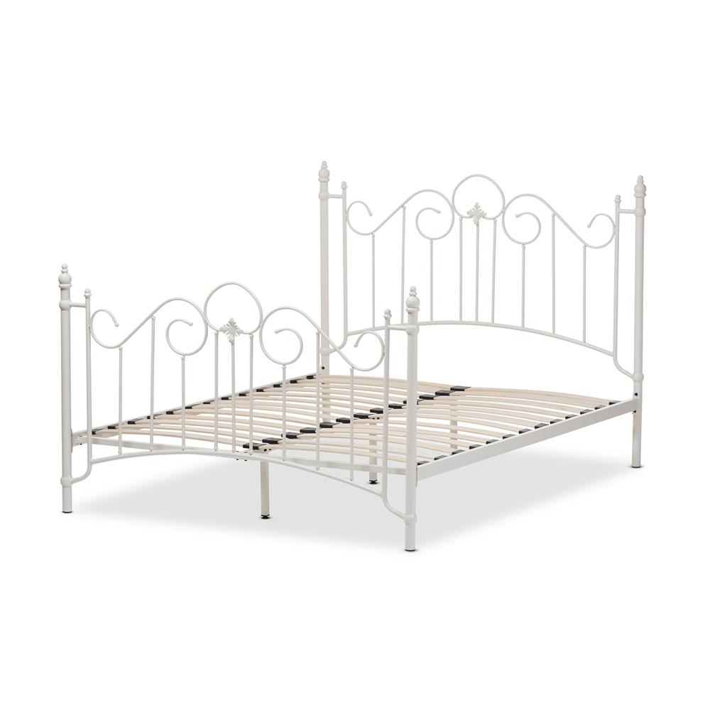 Baxton Studio Scarlett Victorian Style Antique White Metal Full Size Platform Bed Ts