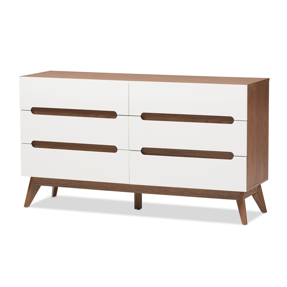 Baxton Studio Calypso Mid-Century Modern White and Walnut Wood 6-Drawer Storage Dresser