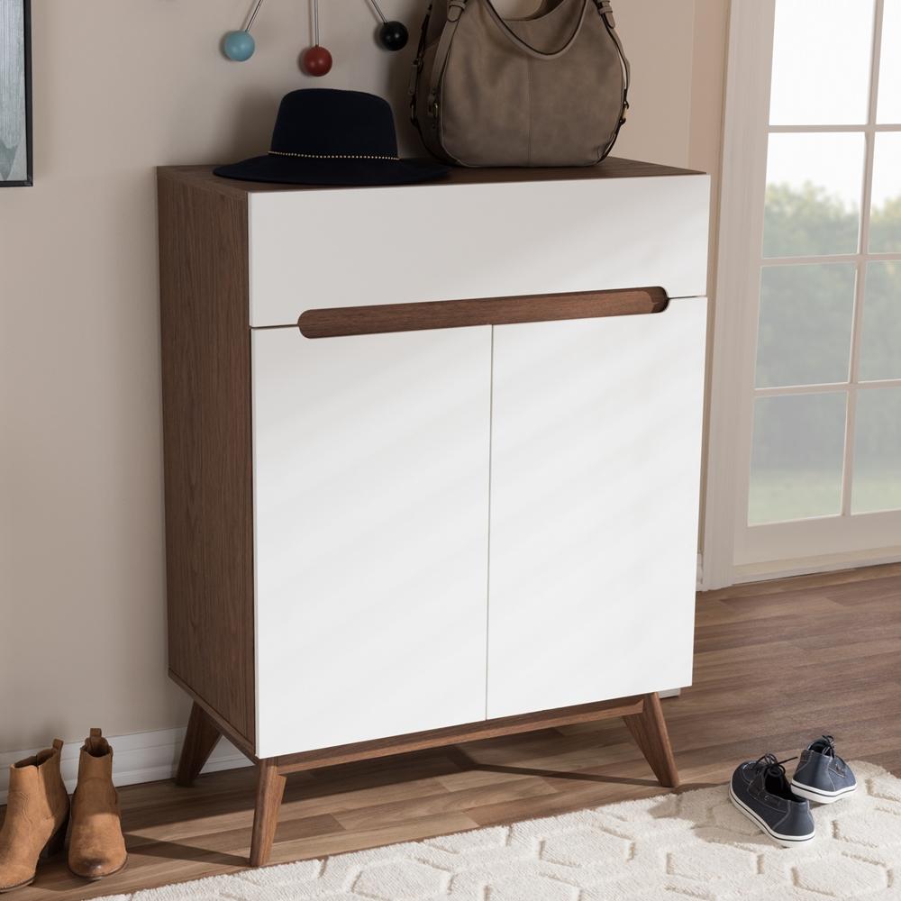Baxton Studio Calypso Mid Century Modern White And Walnut Wood Storage Shoe Cabinet