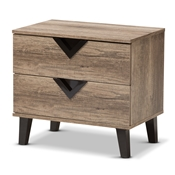 Baxton Studio Swanson Modern and Contemporary Light Brown Wood 2-Drawer Nightstand