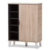 Baxton Studio Adelina Mid-Century Modern 1-door Oak and Grey Wood Shoe Cabinet Baxton Studio restaurant furniture, hotel furniture, commercial furniture, wholesale entryway furniture, wholesale storage, classic shoe cabinet