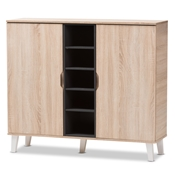 Baxton Studio Adelina Mid-Century Modern 2-door Oak and Grey Wood Shoe Cabinet Baxton Studio restaurant furniture, hotel furniture, commercial furniture, wholesale entryway furniture, wholesale storage, classic shoe cabinet