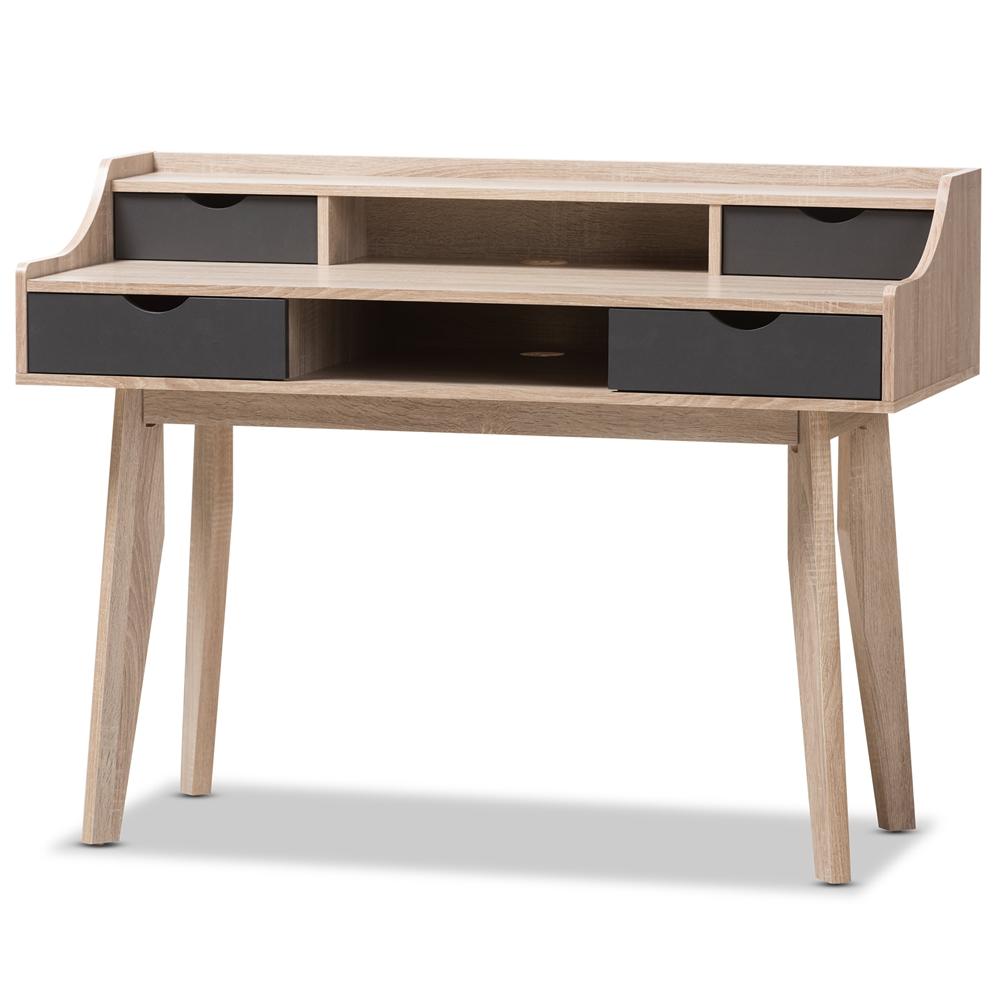 Baxton Studio Fella Mid-Century Modern 4-Drawer Oak and Grey Wood Study Desk