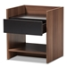 Baxton Studio Vanda Modern and Contemporary Two-Tone Walnut and Black Wood 1-Drawer Nightstand - VDNT0014-Walnut/Black-NS