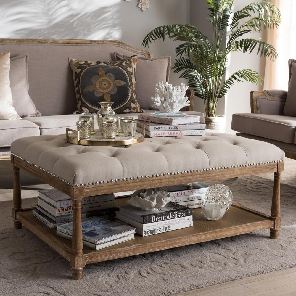 Baxton Studio Carlotta French Country Weathered Oak Beige Linen Rectangular Coffee Table Ottoman Tsf