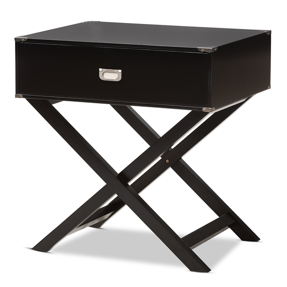 Baxton Studio Curtice Modern And Contemporary Black 1-Drawer Wooden Bedside Table