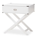Baxton Studio Curtice Modern And Contemporary White 1-Drawer Wooden Bedside Table