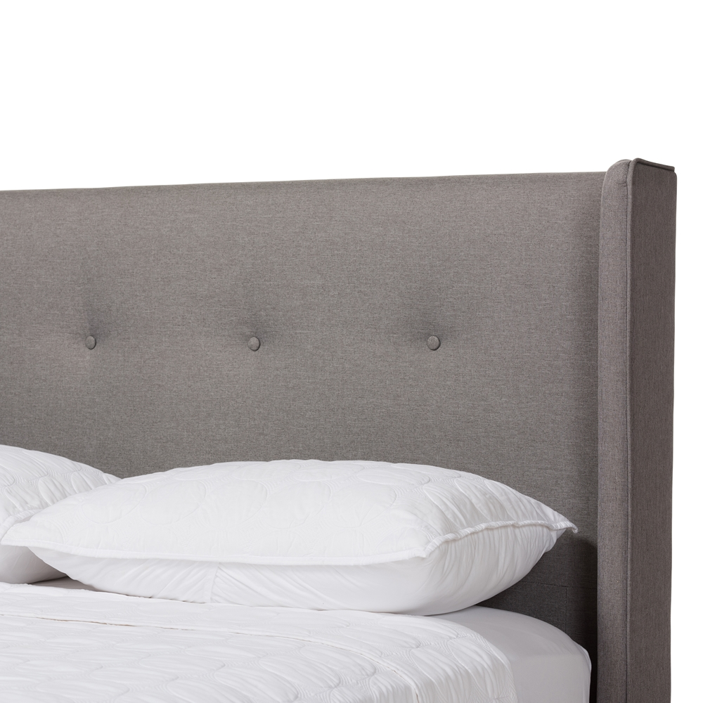 Baxton Studio Brooklyn Mid Century Modern Walnut Wood Grey Fabric Full Size Platform Bed