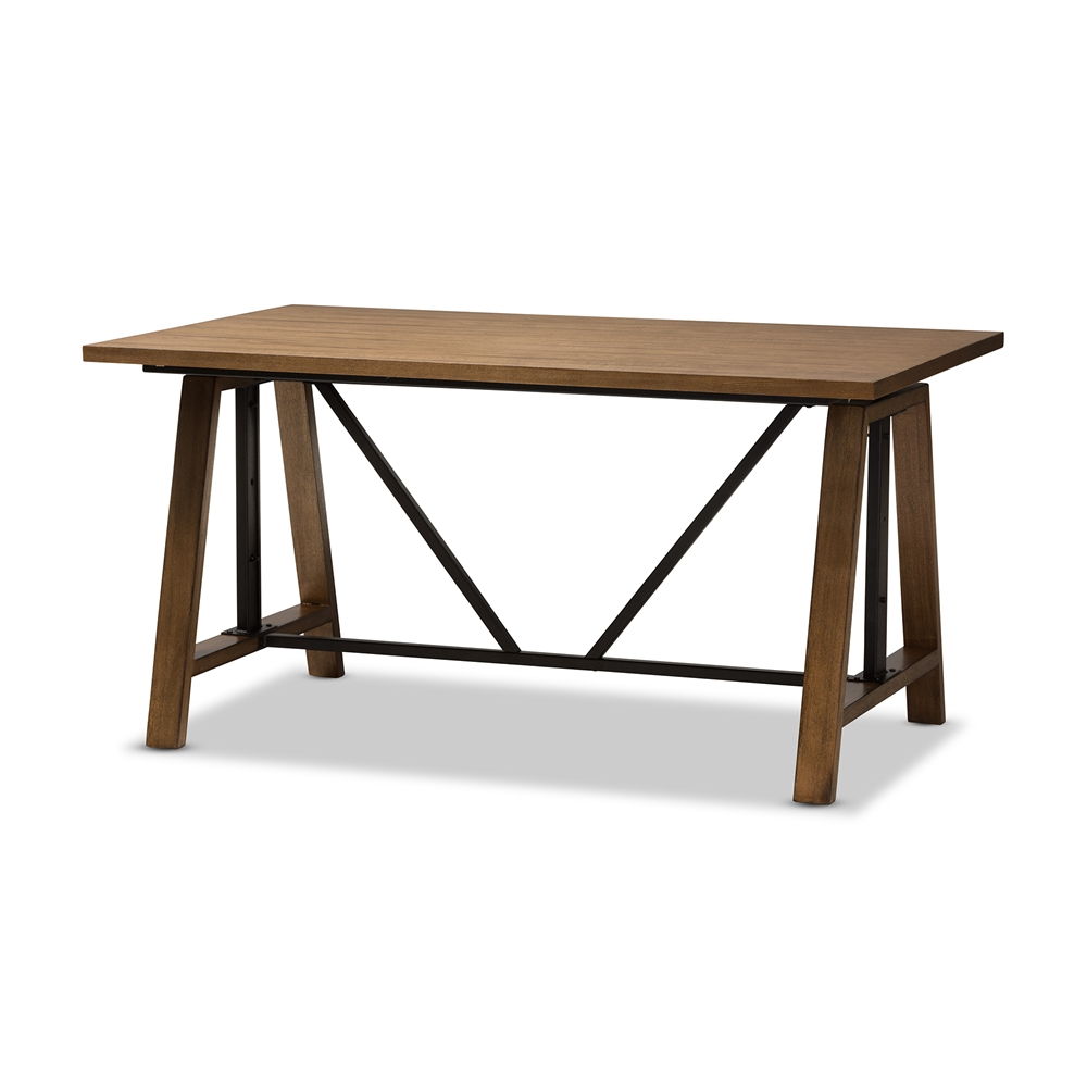 Baxton Studio Nico Rustic Industrial Metal and Distressed Wood Adjustable Height Work Table