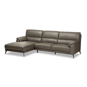 Baxton Studio Radford Modern and Contemporary Dark Grey Leather Left Facing Chaise 2-Piece Sectional Sofa Baxton Studio restaurant furniture, hotel furniture, commercial furniture, wholesale living room furniture, wholesale sectional sofa