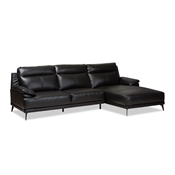 Baxton Studio Rabbie Modern and Contemporary Black Leather Right Facing Chaise 2-Piece Sectional Sofa Baxton Studio restaurant furniture, hotel furniture, commercial furniture, wholesale living room furniture, wholesale sectional sofa