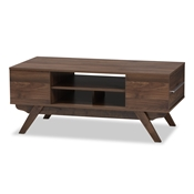 Baxton Studio Ashfield Mid-Century Modern Walnut Brown Finished Wood 2-Drawer Coffee Table