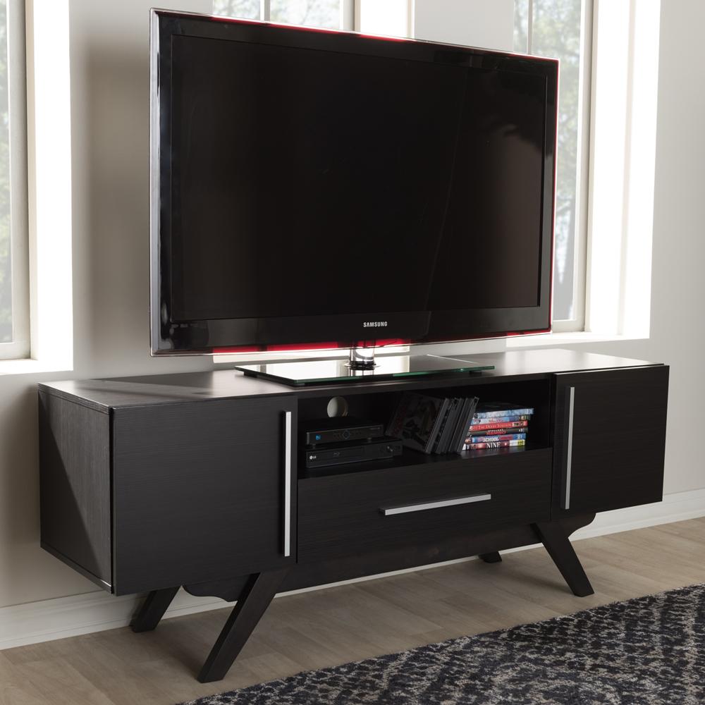 Baxton Studio Ashfield Mid Century Modern Espresso Brown Finished Wood Tv Stand Et 3515