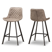 Baxton Studio Pickford Mid-Century Modern Light Brown Fabric Upholstered Counter Stool Set of 2