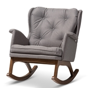 Baxton Studio Maggie Mid-Century Modern Grey Fabric Upholstered Walnut-Finished Rocking Chair