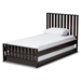 Baxton Studio Harlan Modern Classic Mission Style Dark Brown-Finished Wood Twin Platform Bed with Trundle - HT1701-Espresso Brown-Twin-TRDL