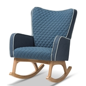 Baxton Studio Zoelle Mid-Century Modern Blue Fabric Upholstered Natural Finished Rocking Chair