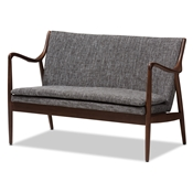 Baxton Studio Shakespeare Mid-Century Modern Walnut Wood Grey Fabric Upholstered 2-seater Loveseat Baxton Studio restaurant furniture, hotel furniture, commercial furniture, wholesale living room furniture, wholesale sofas and loveseats, classic loveseats