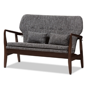 Baxton Studio Rundell Mid-Century Modern Walnut Wood Grey Fabric Upholstered 2-seater Loveseat Baxton Studio restaurant furniture, hotel furniture, commercial furniture, wholesale living room furniture, wholesale sofas and loveseats, classic loveseats