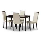 Baxton Studio Daveney Modern and Contemporary Cream Faux Leather Upholstered 5-Piece Dining Set Baxton Studio restaurant furniture, hotel furniture, commercial furniture, wholesale dining room furniture, wholesale dining set, classic dining sets