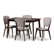 Baxton Studio Tarelle Mid-Century Modern Walnut-Finished Light Grey Fabric Upholstered 5-Piece Dining Set Baxton Studio restaurant furniture, hotel furniture, commercial furniture, wholesale dining room furniture, wholesale dining set, classic dining sets