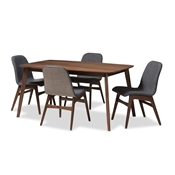 Baxton Studio Embrace Mid-Century Modern Dark Grey Fabric Upholstered Walnut Wood Finished 5-Piece Dining Set Baxton Studio restaurant furniture, hotel furniture, commercial furniture, wholesale dining furniture, wholesale dining set, classic dining sets