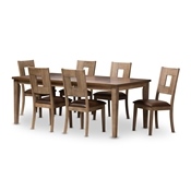Baxton Studio Gillian Shabby Chic Country Cottage Weathered Grey and Oak Brown 2-Tone Finishing 7-Piece Dining Set With Extendable Dining Table Baxton Studio restaurant furniture, hotel furniture, commercial furniture, wholesale dining furniture, wholesale dining set, classic dining sets