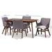 Baxton Studio Monte Mid-Century Modern Walnut Wood Rectangular 5-Piece Dining Set - Monte-Dark Grey-5PC Dining Set