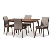 Baxton Studio Kimberly Mid-Century Modern Beige and Brown Fabric 5-Piece Dining Set Baxton Studio restaurant furniture, hotel furniture, commercial furniture, wholesale dining furniture, wholesale dining set, classic dining sets