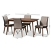 Baxton Studio Kimberly Mid-Century Modern Beige and Brown Fabric 5-Piece Dining Set - Kimberly-Brown-5PC Dining Set