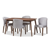 Baxton Studio Cassie Mid-Century Modern Walnut Wood Light Grey Fabric 5-Piece Dining Set Baxton Studio restaurant furniture, hotel furniture, commercial furniture, wholesale dining furniture, wholesale dining set, classic dining sets
