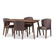 Baxton Studio Cassie Mid-Century Modern Walnut Wood Light Brown Fabric 5-Piece Dining Set Baxton Studio restaurant furniture, hotel furniture, commercial furniture, wholesale dining furniture, wholesale dining set, classic dining sets