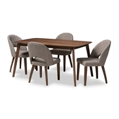 Baxton Studio Wesley Mid-Century Modern Light Grey Fabric Upholstered Walnut Finished Wood 5-Piece Dining Set Baxton Studio restaurant furniture, hotel furniture, commercial furniture, wholesale dining furniture, wholesale dining set, classic dining sets