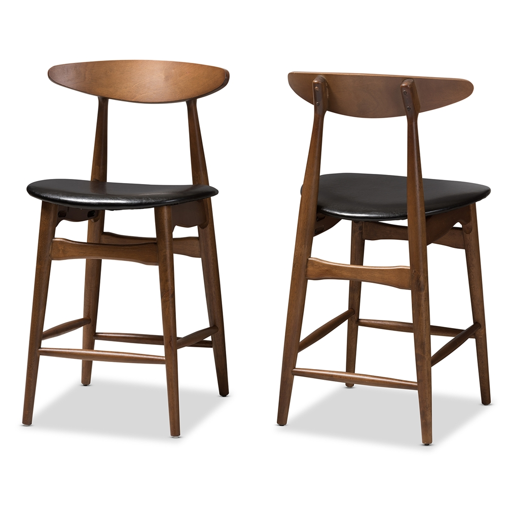 Baxton Studio Flora Mid-Century Modern Black Faux Leather Upholstered Walnut Finished Counter Stool (Set of 2)