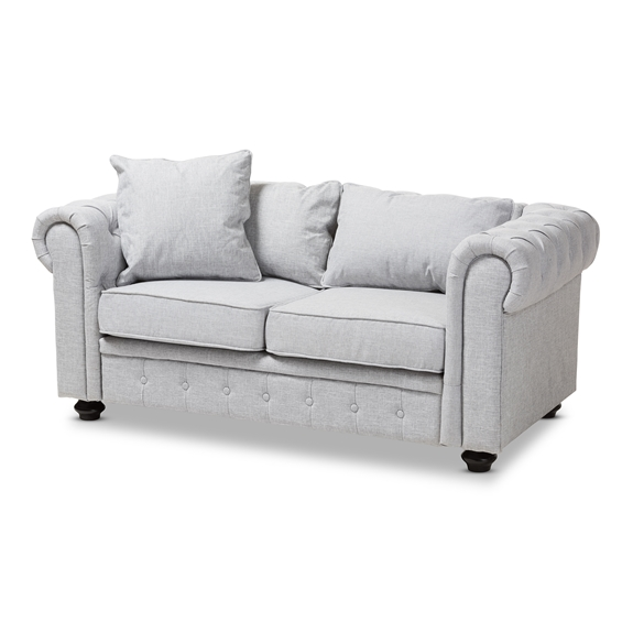 Baxton Studio Alaise Modern Classic Grey Linen Tufted Scroll Arm Chesterfield Loveseat
