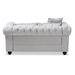 Baxton Studio Alaise Modern Classic Grey Linen Tufted Scroll Arm Chesterfield Loveseat - RX1616-Gray-LS