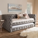 Baxton Studio Janie Classic And Contemporary Grey Fabric Upholstered Daybed With Trundle - CF8987-Grey-Daybed