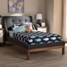 Baxton Studio Louvain Modern and Contemporary Dark Grey Fabric Upholstered Walnut-Finished Twin Sized Platform Bed - BBT6696-Dark Grey-Twin