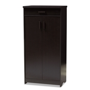 Baxton Studio Bienna Modern and Contemporary Wenge Brown Finished Shoe Cabinet Baxton Studio restaurant furniture, hotel furniture, commercial furniture, wholesale foyer furniture, wholesale cabinet, classic shoe cabinets