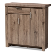 Baxton Studio Laverne Modern and Contemporary Oak Brown Finished Shoe Cabinet Baxton Studio restaurant furniture, hotel furniture, commercial furniture, wholesale foyer furniture, wholesale cabinet, classic shoe cabinets