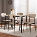 Baxton Studio Honore Mid-Century Modern Light Brown Wood Finished Matte Black Frame 5-Piece Dining Set - D01136R-5PC-Dining Set