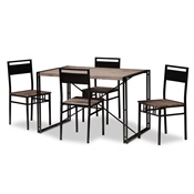 Baxton Studio Mamaine Rustic and Industrial Brown Wood Finished Matte Black Frame 5-Piece Dining Set Baxton Studio restaurant furniture, hotel furniture, commercial furniture, wholesale dining furniture, wholesale dining set, classic dining sets